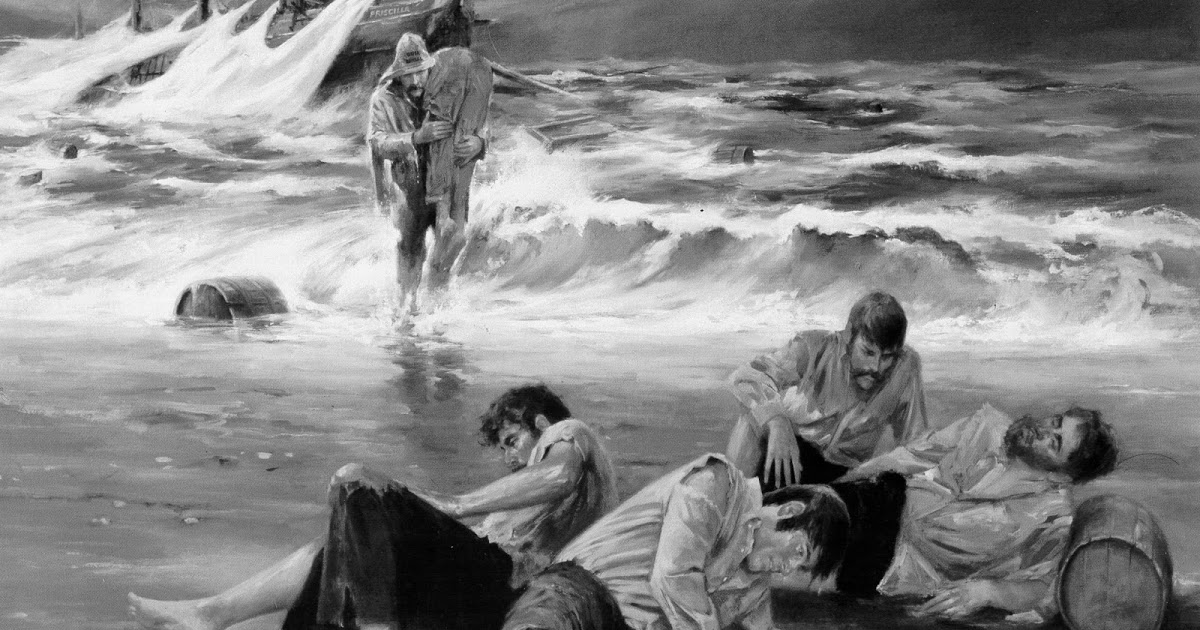 Image of surfman rescueing victims from shipwreck